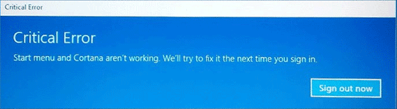 Windows 10 Start Menu error message