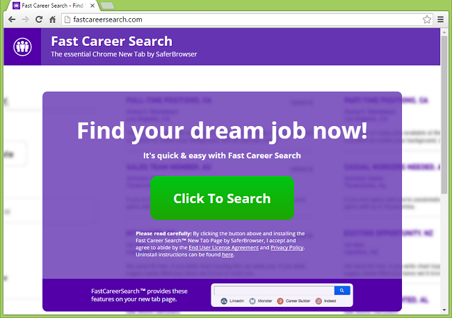 How to get rid of Fast Career Search homepage and new tab page