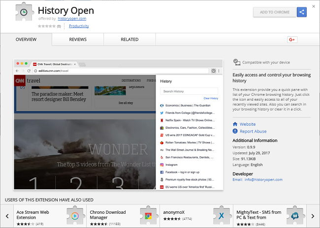 "How To Remove ""History Open"" Extension"