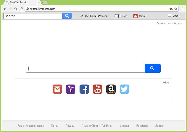 Cómo dejar de http://search.searchfaa.com/ (Más rápido Acceso a la cuenta) redirecciones