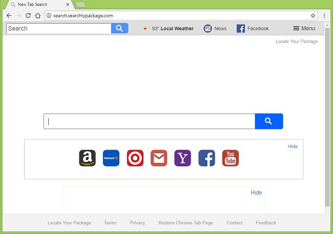 Cómo dejar de http://search.searchlypackage.com/ (Localice su paquete de) redirecciones