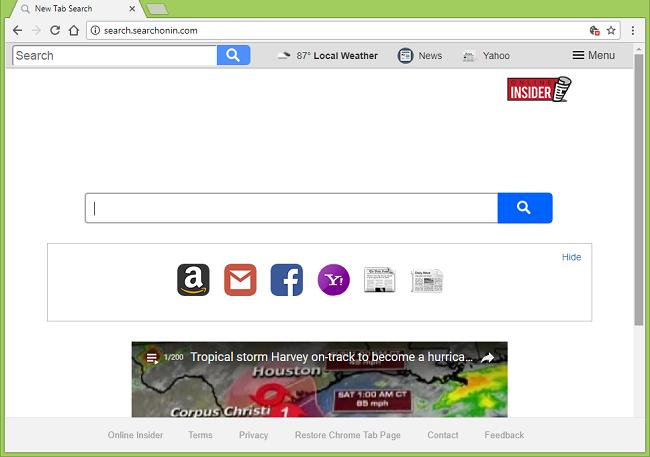 Cómo dejar de http://search.searchonin.com/ (Iniciado en línea) redirecciones