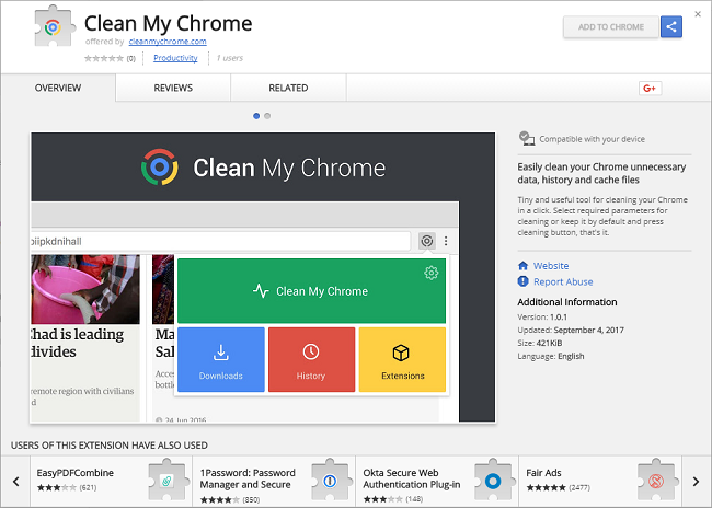 "How to remove Clean My Chrome 1.0.1 (ID: ieinnneanoadfjcfhpjjncohgejljopj ; ""This extension is managed and cannot be removed or disabled."""