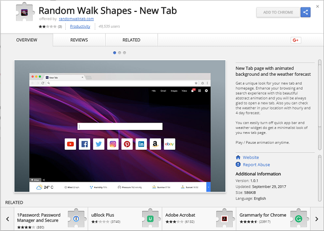 How to delete Random Walk Shapes - New Tab (ID: fdjcngoneogjbkdakodemfopgkkncoll)