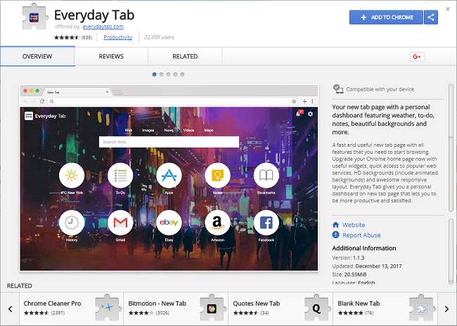 How to delete Everyday Tab 1.1.3 virus (ID: gjmodidemojeffnmplcdjibdjmiaibkn) and https://search.everydaytab.com/
