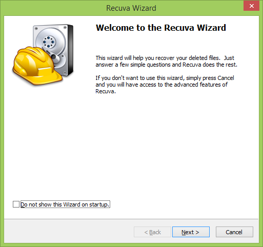 Using Recuva Wizard to recover files