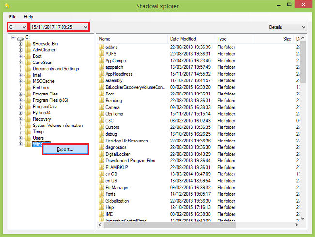 Using Shadow Explorer to recover Shadow Copies of files