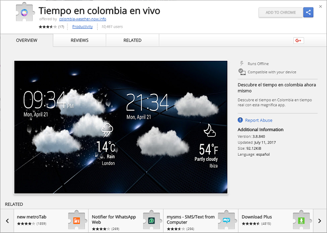 How to delete Tiempo en colombia en vivo virus extension