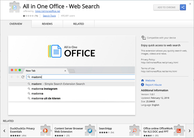 How to delete All in One Office - Web Search 1.0.1 (ID: doknpakcpjkbnincdeoocojhnhndmhek) virus