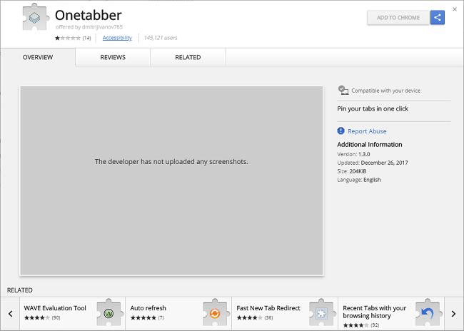 How to delete Onetabber 1.3.0 (ID: eabpnabhhffhbfjibhhddgakdbnccpij) virus