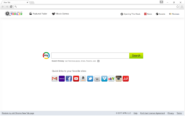 Delete Your Daily Trailer virus (ID: jgaleaolfpjphkcbjgacjnddbiponabb)