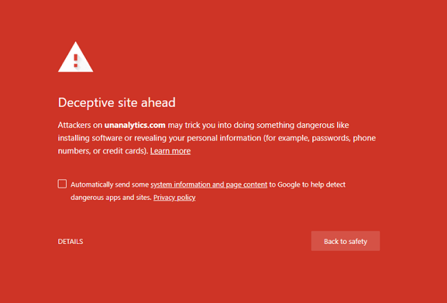 Deceptive site ahead. Attackers on nanalytics.com may trick you into doing something dangerous like installing software or revealing your personal information (for example, passwords, phone numbers, or credit cards). Learn more