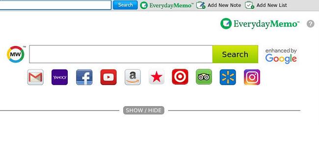 Delete Everyday Memo new tab virus (MyWay)