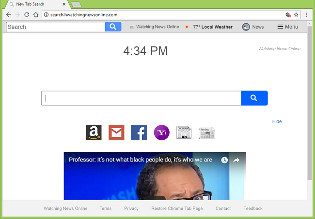 Comment supprimer http://search.hwatchingnewsonline.com/?uc = virus (Watching News Online new tab page)