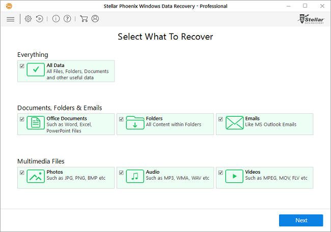 Stellar Data Recovery Pro in use