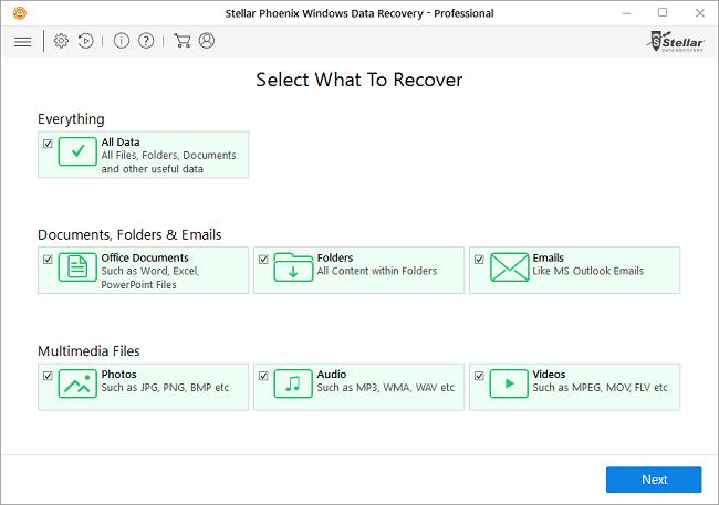 Stellar Data Recovery Pro em uso