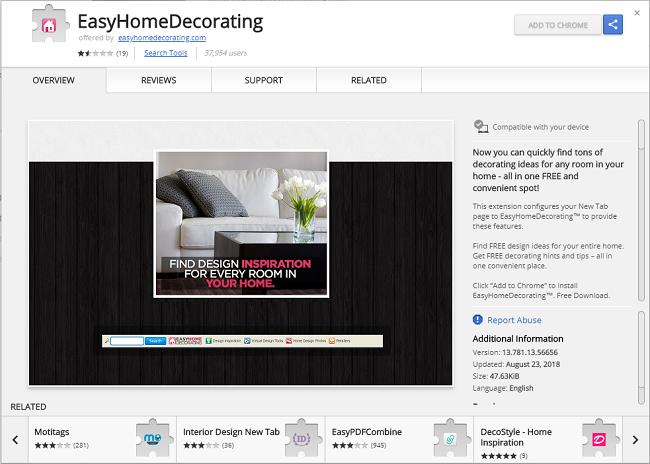 delete Easy Home Decorating virus toolbar