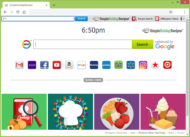 Delete Simple Holiday Recipes new tab virus