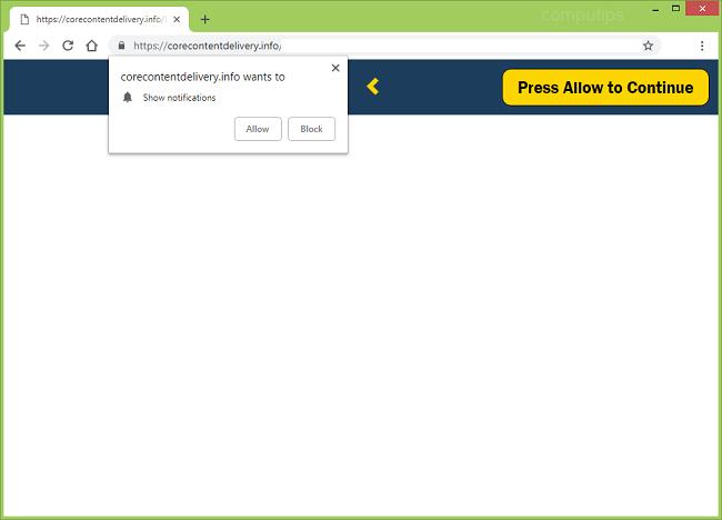 Delete https://corecontentdelivery.info, p8.corecontentdelivery.info, p7.corecontentdelivery.info,  p6.corecontentdelivery.info virus notifications (core content delivery info virus)