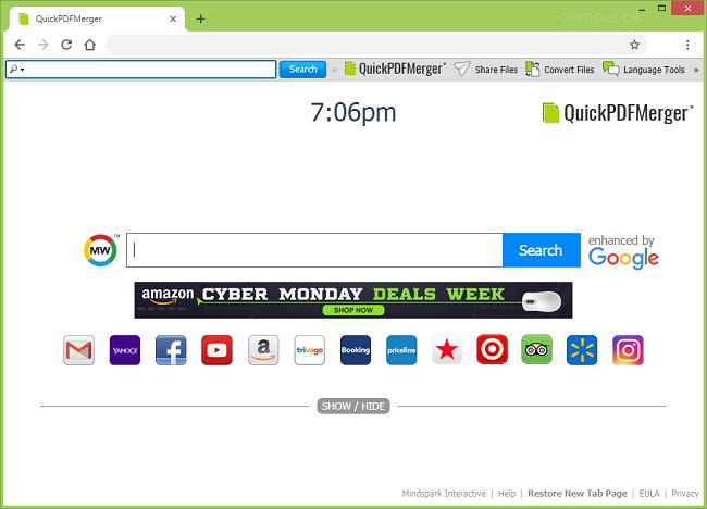 Delete Quick PDF Merger New Tab virus