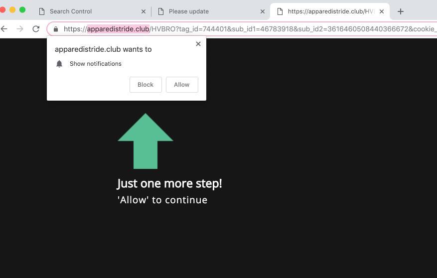 Delete Apparedistride.club virus notifications