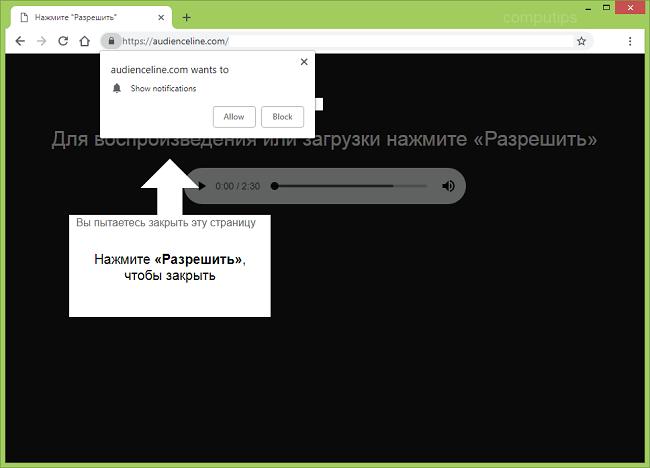 Delete https://audienceline.com, p8.audienceline.com, p7.audienceline.com, p6.audienceline.com, p5.audienceline.com, p4.audienceline.com notifications