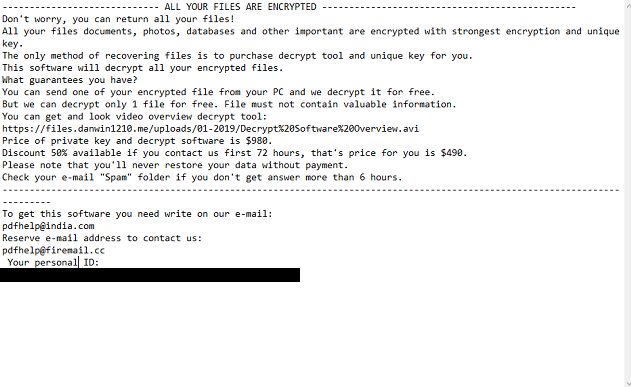 A screenshot of Rumba's ransom note _openme.txt: ALL YOUR FILES ARE ENCRYPTED Don't worry, you can return all your files! All your files documents, photos, databases and other important are encrypted with strongest encryption and unique key. The only method of recovering files is to purchase decrypt tool and unique key for you. This software will decrypt all your encrypted files. What guarantees you have? You can send one of your encrypted file from your PC and we decrypt it for free. But we can decrypt only 1 file for free. File must not contain valuable information. You can get and look video overview decrypt tool: https://files.danwin1210.me/uploads/01-2019/Decrypt%20Software%20Overview.avi Price of private key and decrypt software is $980. Discount 50% available if you contact us first 72 hours, that's price for you is $490. Please note that you'll never restore your data without payment. Check your e-mail Spam folder if you don't get answer more than 6 hours. To get this software you need write on our e-mail: pdfhelp@india.com Reserve e-mail address to contact us: pdfhelp@firemail.cc  Your personal ID: