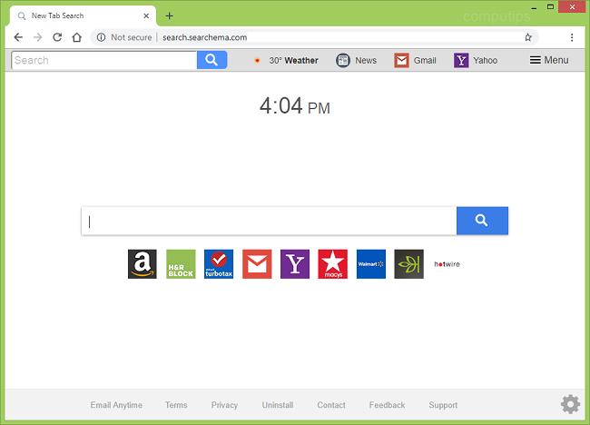 eliminar https://virus search.searchema.com (Cada vez que la barra de herramientas de correo electrónico)