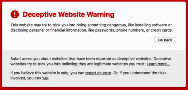 how to remove Deceptive Website Warning from Safari