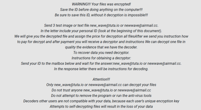 How to remove [New_wave@tuta.io].LotR ransomware