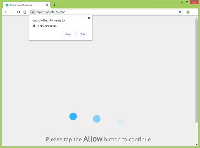Delete https://undrototha.info, aryf.undrototha.info, lod3.undrototha.info, vte4.undrototha.info, kozu.undrototha.info, v52q.undrototha.info virus notifications