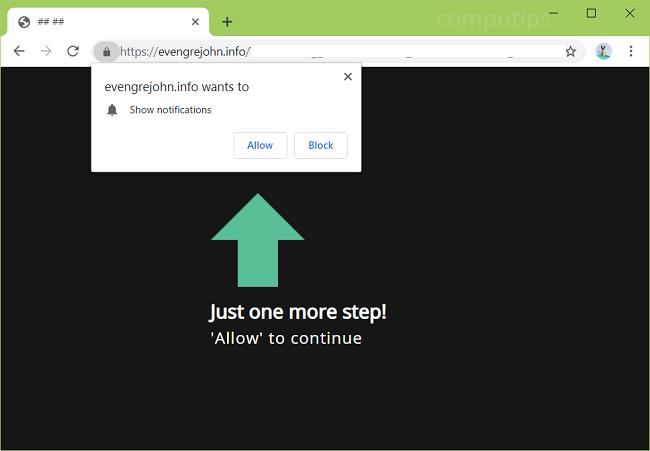 Delete https://evengrejohn.info, p8.evengrejohn.info, p7.evengrejohn.info virus notifications