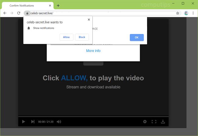 Delete https://celeb-secret.live virus notifications