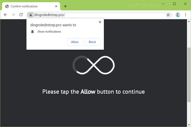 Delete https://dingroledintrep.pro, h6ag.dingroledintrep.pro, fatv.dingroledintrep.pro, o0np.dingroledintrep.pro, sw5t.dingroledintrep.pro, yhox.dingroledintrep.pro virus notifications