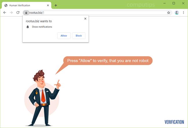 Delete https://rootus.biz, 0.rootus.biz virus notifications