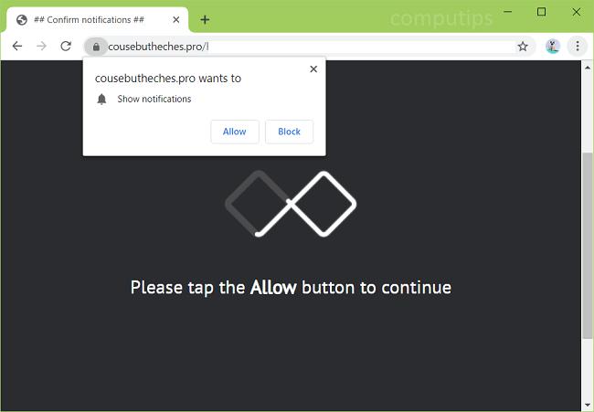 Delete https://cousebutheches.pro, p9c9.cousebutheches.pro, edmk.cousebutheches.pro, mgpe.cousebutheches.pro, ryjy.cousebutheches.pro, h69j.cousebutheches.pro, etc. virus notifications