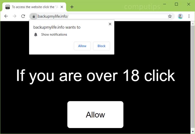 Delete backupmylife.info virus notifications
