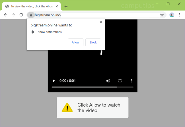 Delete bigstream.online, 0.bigstream.online, etc. virus notifications