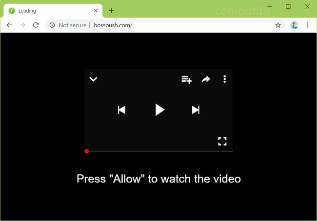 Delete bosspush.com virus notifications