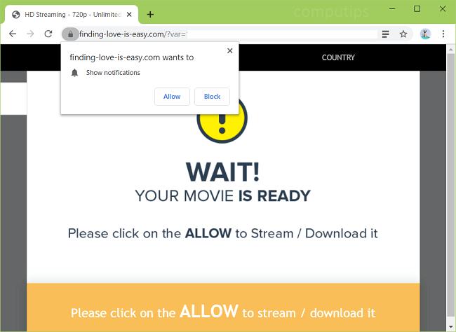 Delete finding-love-is-easy.com virus notifications