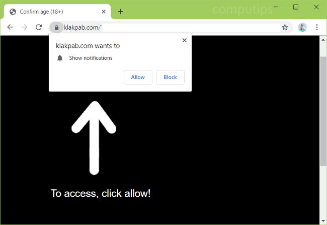 Delete klakpab.com, 1.klakpab.com, 2.klakpab.com, etc. virus notifications