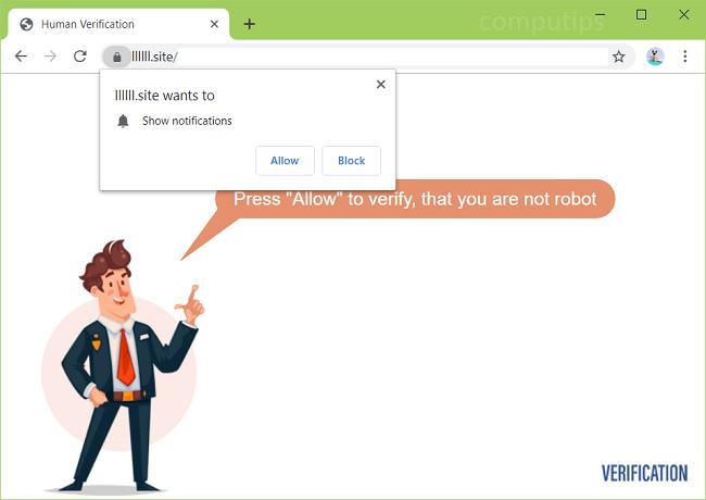 Delete llllll.site, 0.llllll.site, etc. virus notifications