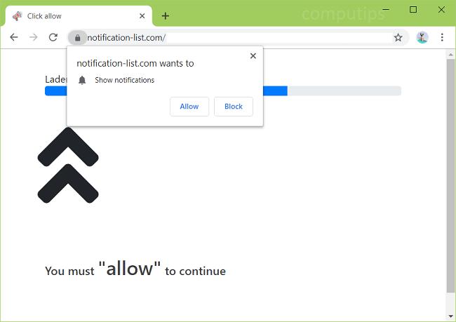 Delete notification-list.com virus notifications