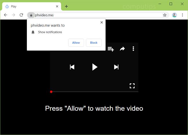 Delete phvideo.me virus notifications