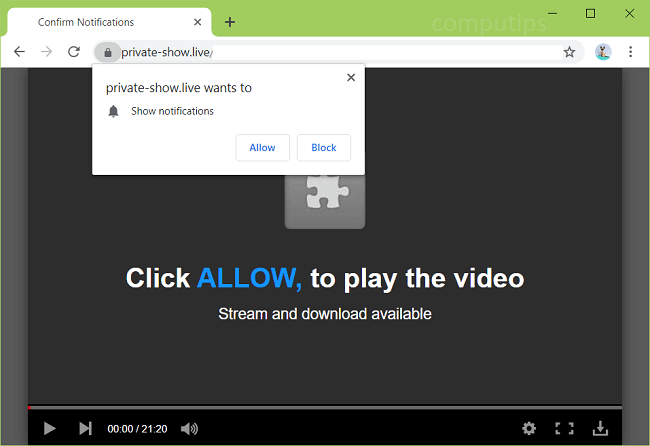 Delete private-show.live virus notifications