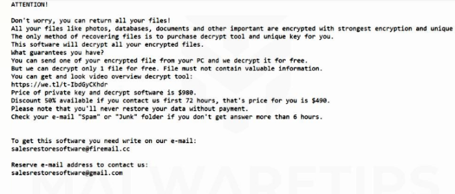 How to remove Salesrestoresoftware@gmail.com ransomware