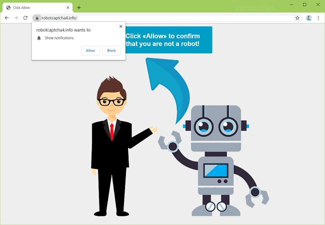 Delete a.robotcaptcha4.info virus notifications