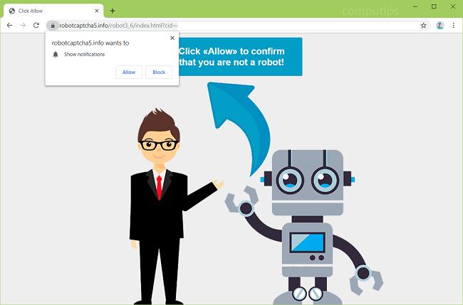 Delete robotcaptcha5.info virus notifications