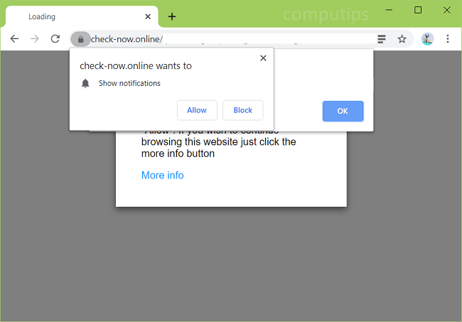 Delete check-now.online, 1.check-now.online virus notifications