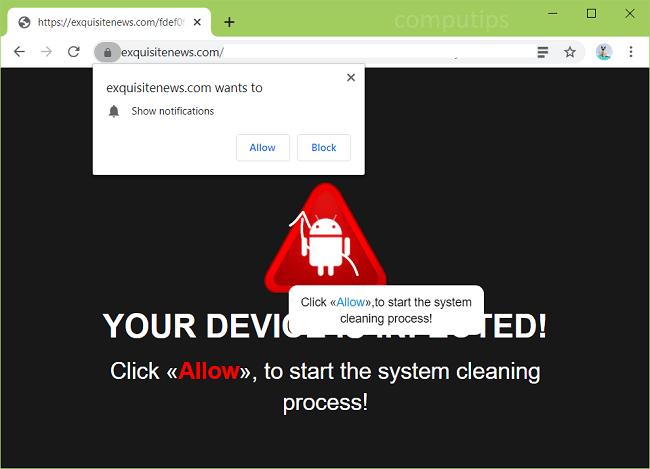 Delete exquisitenews.com, 1.exquisitenews.com virus notifications